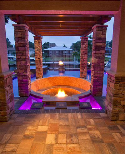 Custom water feature fire pit in Marco Island by Allied Paver Systems