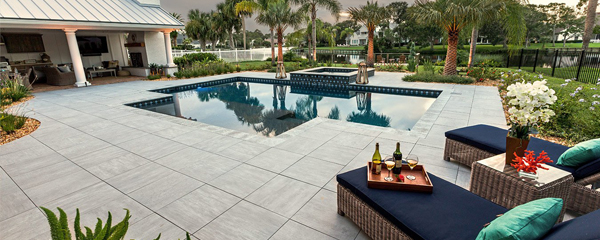 porcelain pavers pool deck in naples by Allied Paver Systems